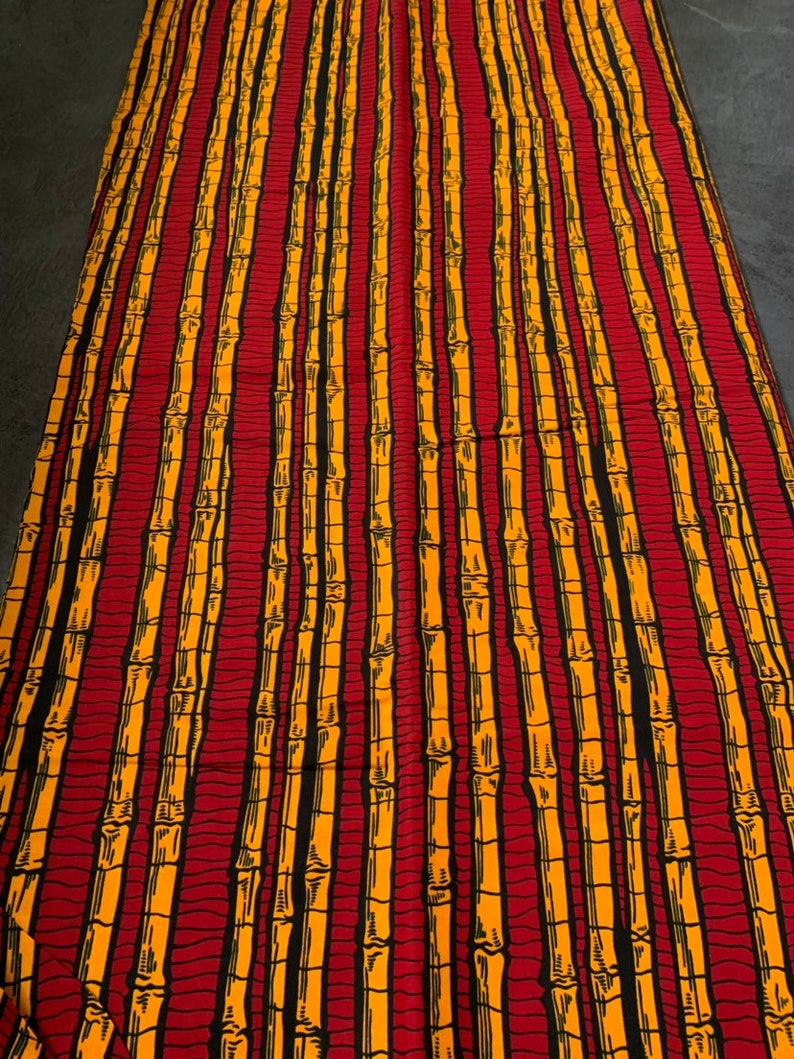 African Print Ankara Wax Cotton Ankara Quality Fabric Bright Colours Sold Per Yard Blue  Red Black Bambo Stick Motif
