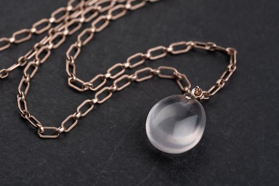 Vintage one of a kind: Link necklace with pendant rose quartz