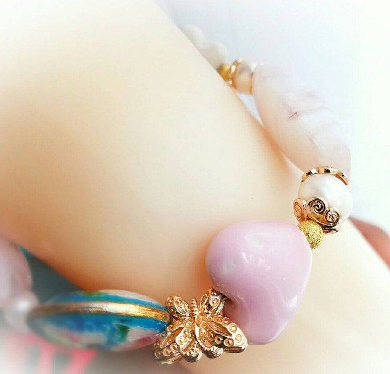 24k gold and glass beads Beautiful Shabby Chic jewllery set with freshwater pearls