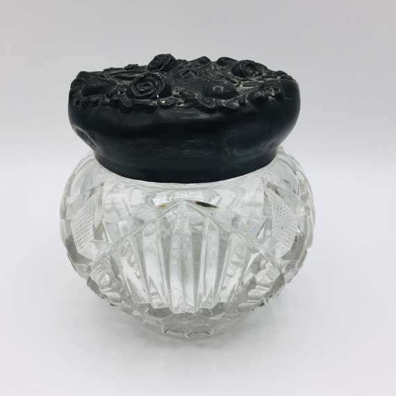 Victorian Powder JarSwirled Glass Vanity JarRibbed Glass Powder BoxVictorian CoupleGold Colored LidDecorative Parlor JarEarly 1900/'s