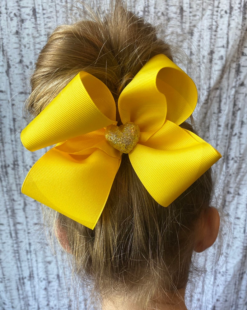 Yellow Four Sizes Hair Bow for sisters glitter clay heart hair bow multiples looped hair bow classic style solid hair bow matching beautiful