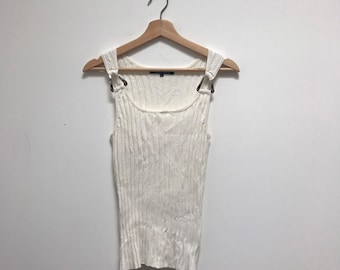 d900cc30303c70 Vintage 90s Cream Ribbed Tank Top with Metal Details    Size Medium