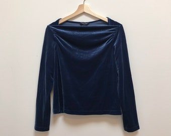 bc356323dd539 Vintage 90s Blue Velvet Top    Size Medium