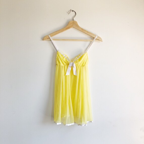Vintage 90s Yellow Sheer Babydoll Lingerie Top With White Trim / Size Small by Etsy
