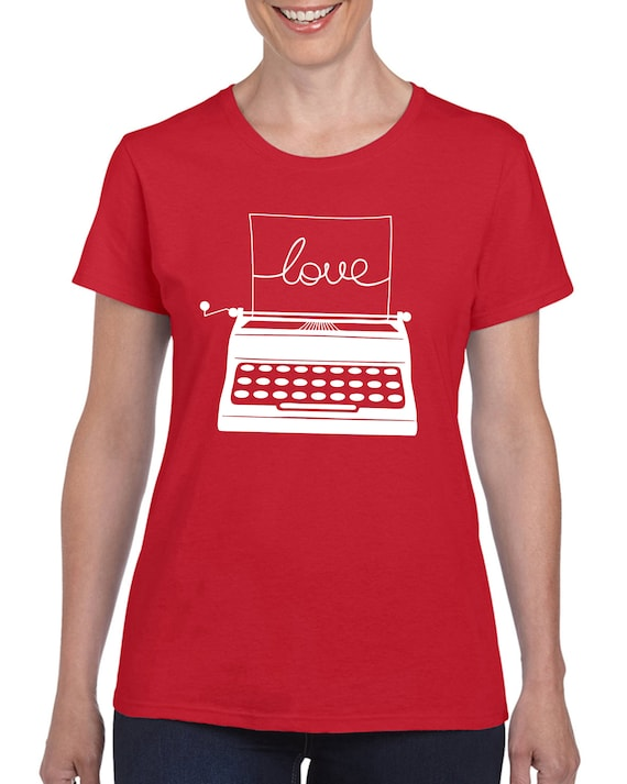 Love Retro Typewriter T-shirt for Ladies