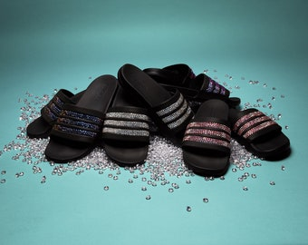 6c087fb43 Adidas Adilette Cloudfoam Black Slides with Customized Swarovski Crystals -  Choose your own color!