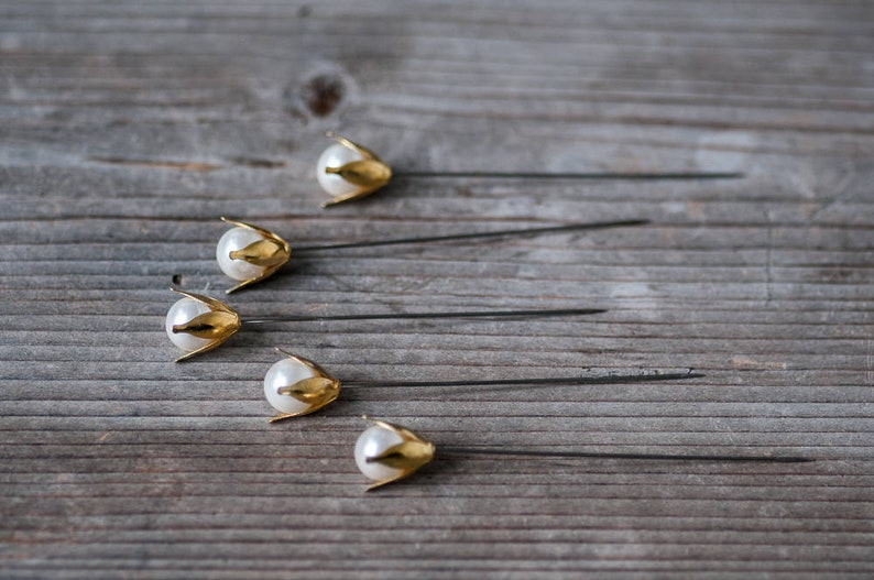 Large Flower Head Pins Decorative Pins Golden Wedding Pins Florist Pins Wedding Decor Valentine Decor Romantic Wedding Bouquet Pins