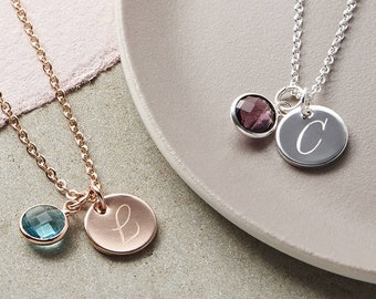 Birthstone Necklace Initial Necklace Circle Necklace 74985b4952f2