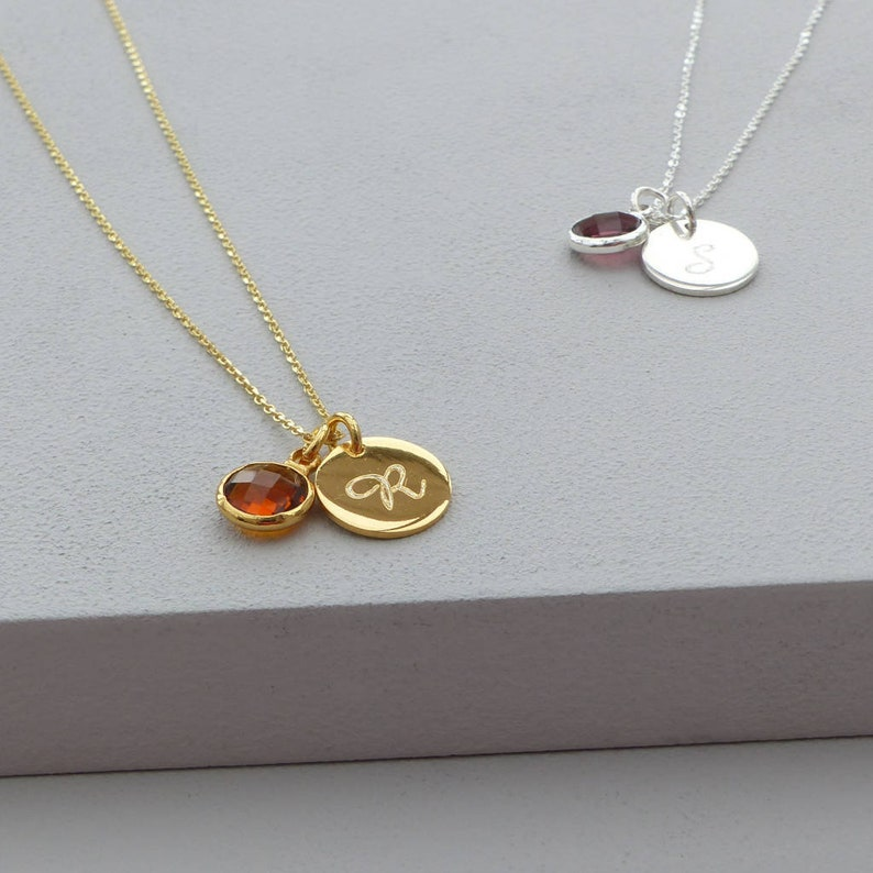 Birthstone Jewelry Birth Month Personalized Necklace,Birthday Gift Birthstone Necklace Initial Necklace Circle Necklace