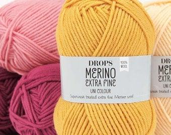 DROPS Merino Extra fine DK yarn (8ply) 100% wool Knitting wool Merino wool Superwash treated