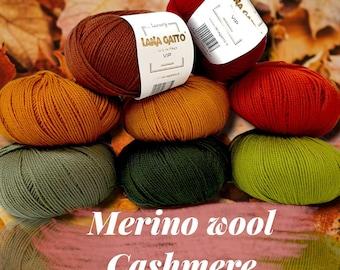 LANA GATTO Vip Knitting yarn Luxury collection Italian Extrafine merino Wool Cashmere Yarn Summer Yarn 50g