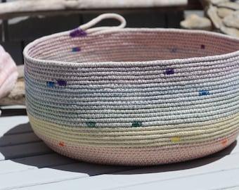 Handmade Rope Basket - Rainbow Basket, Pride Rainbow Basket, Storage Basket, Home Decor Basket, Gift Ideas, Made in USA