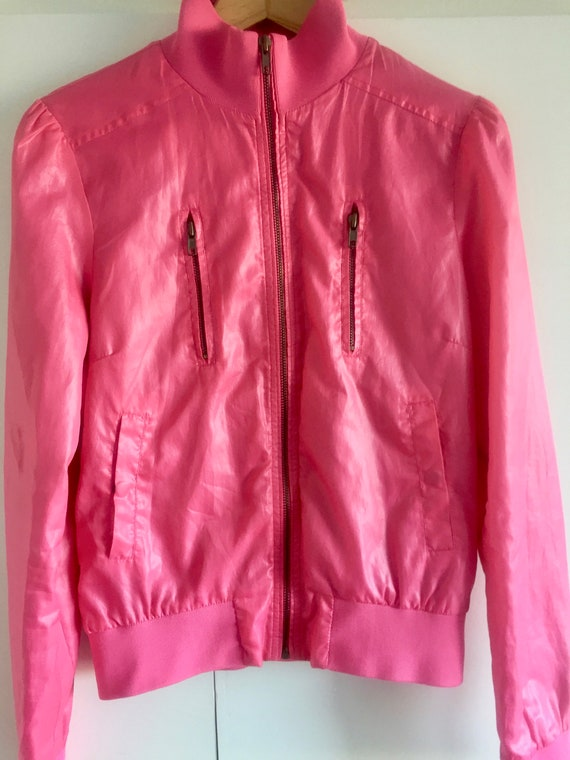 Stylish Vintage Neon Pink Bomber Jacket for Women,
