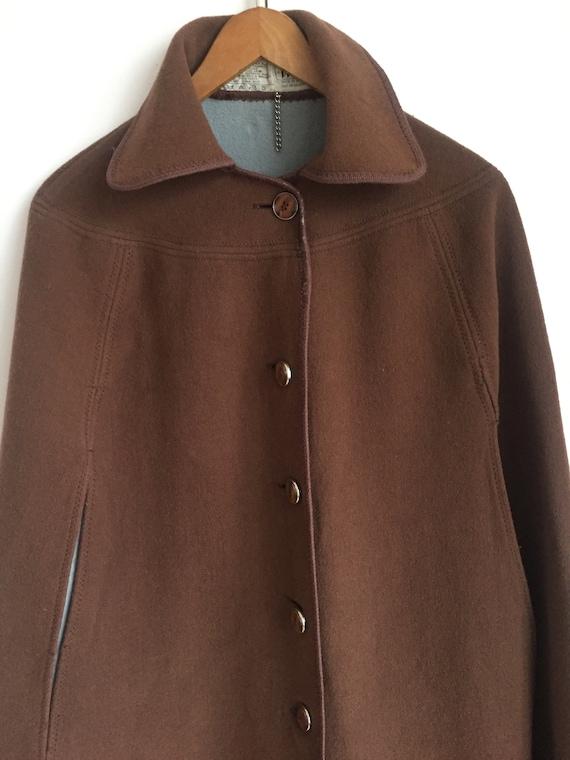 Chocolate brown wool cape, long wool cape, Vintage