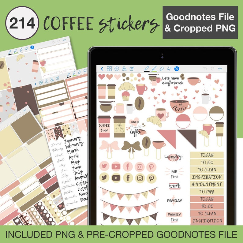 Digital stickers for Goodnotes | Coffee stickers for planner | Digital  planner stickers Goodnote | Digital stickers Notability, Xodo png