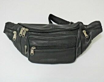29889803a0ed3 Genuine Leather Black Fanny Pack Waist Bag Hip Belt Pouch Travel Purse Men  Women