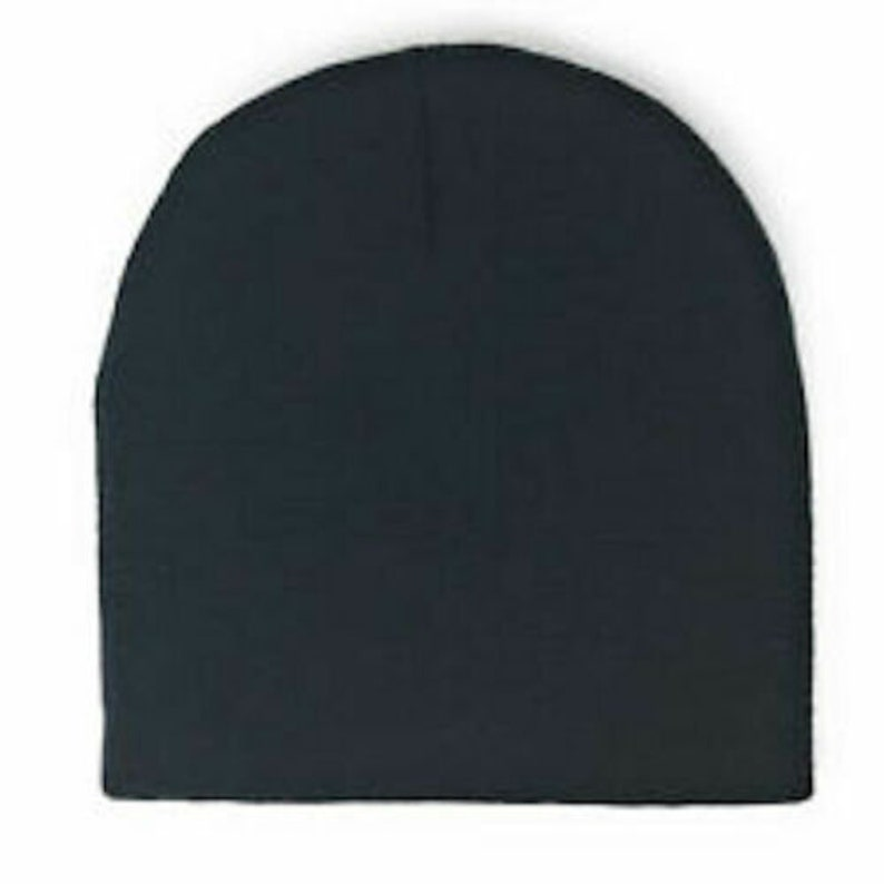 Black Short Skull Beanie Plain Solid Knit Winter Cap Hat Ski Men Woman No Cuff