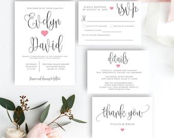 Simple Wedding Invitation Etsy