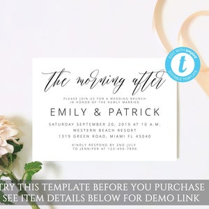 instant download rustic printable invitation templates Post wedding brunch invitation template editable wedding invitation templett