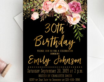 Floral Gold Birthday Invitation Adult Girl Teen Glitter 30th 40th 20th