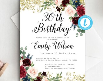 Adult birthday invitation template etsy editable birthday invitation template 30th birthday adult birthday printable glitter birthday template templett instant download filmwisefo