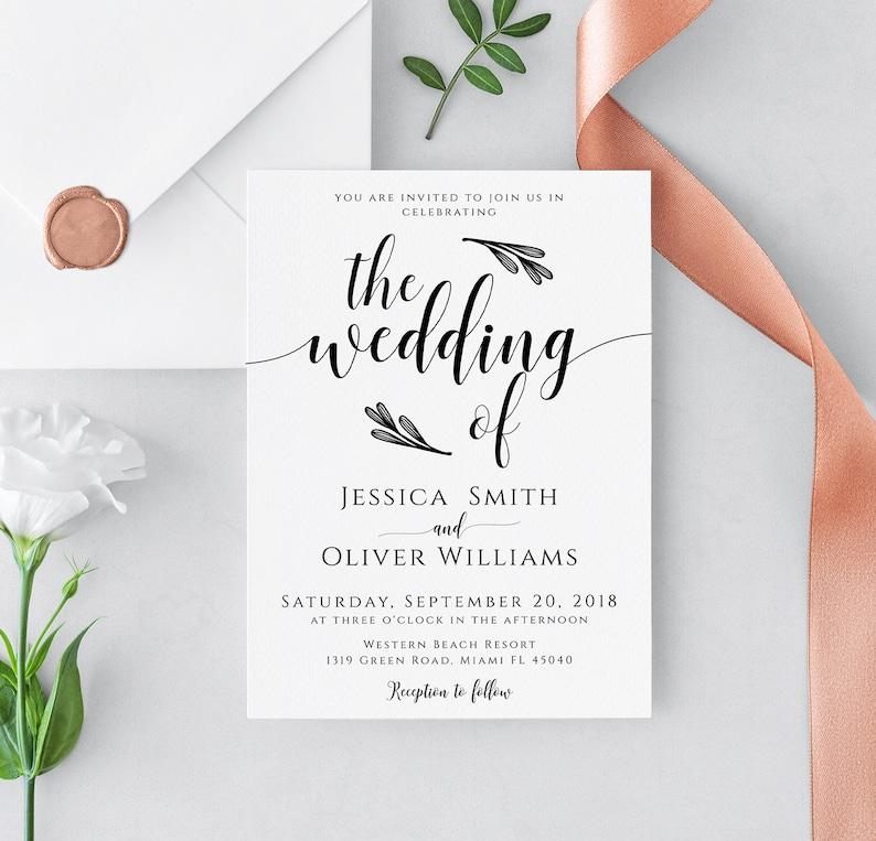 templett editable PDF Wedding invitation template editable rustic wedding invitation editable wedding template calligraphy invitation
