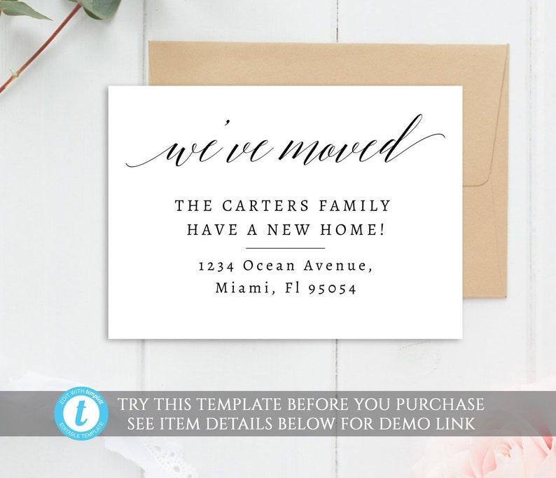 image relating to Free Printable Moving Announcements called Weve moved card template, editable transferring announcement, printable going card, editable clean residence card, templett, protect bulletins,