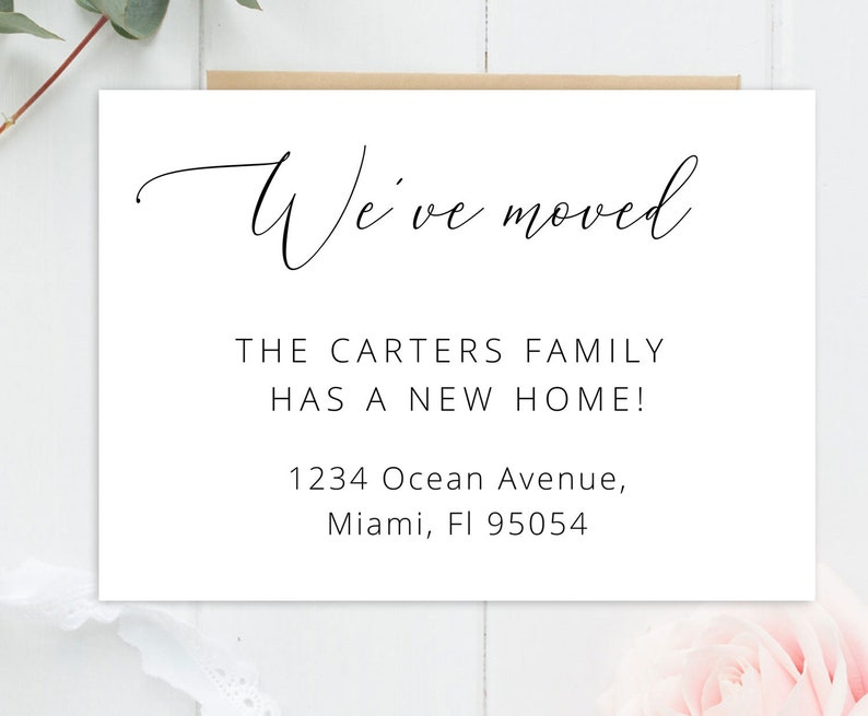Calligraphy we've moved template printable new home card ...