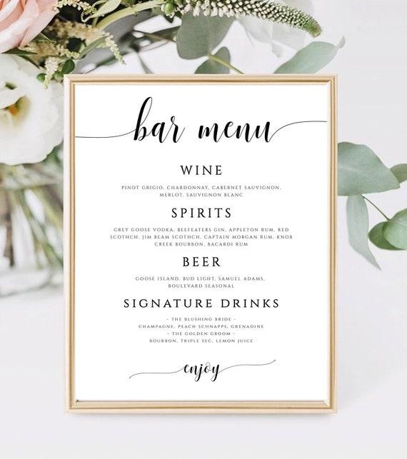 Editable Wedding Bar Menu Template Printable Bar Menu Sign Editable Bar Print Bar Sign Bar Template Drinks Printable Sign