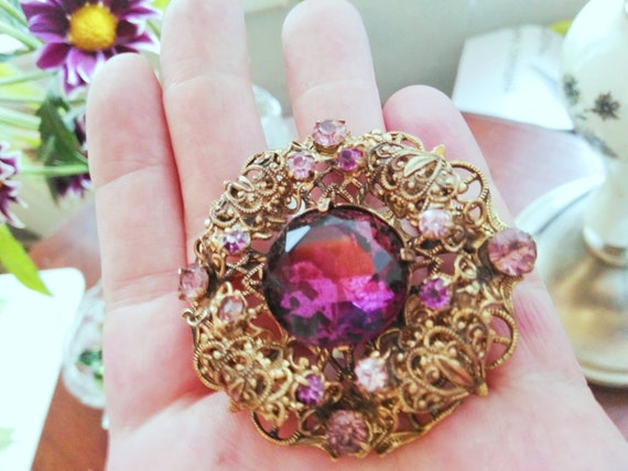 Large Czech brooch Filigree Red brooch czech lilac