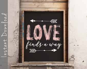 6b71f408285863 Love Finds A Way Printable Sign - Wall Art