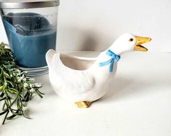 Vintage Round Geese Planter Made in Japan White with Orange Bills