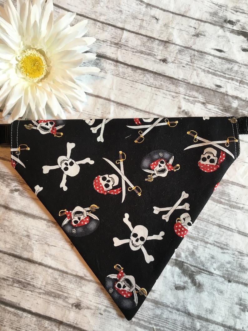 Red and Black Pirate REVERSIBLE Over the Collar Dog Bandana Dog Bandana
