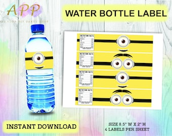621647ebd2 Minions Water Bottle Label, Minions Water Bottle Wrapper, Despicable Me  Party, Minions Printables, Minions Birthday Theme, Instant Download