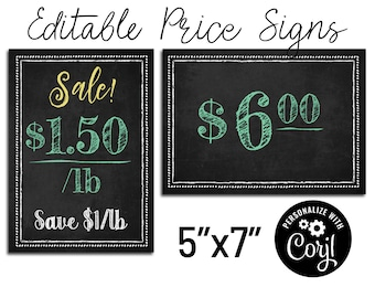 """Store Price Sign. Editable Chalkboard 5""""x7"""". Customize with Corjl Online. Table Signs, Farmer's Market, Arts and Crafts Show, & Retail Signs"""