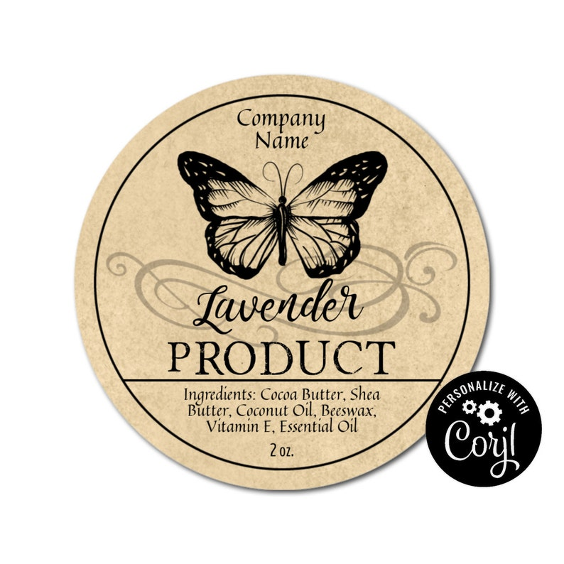 Apothecary Butterfly Round Label Design  Customizable Packaging Personalize  w/ Corjl Online  Download & Print Jars Candles Soap Favors Gifts