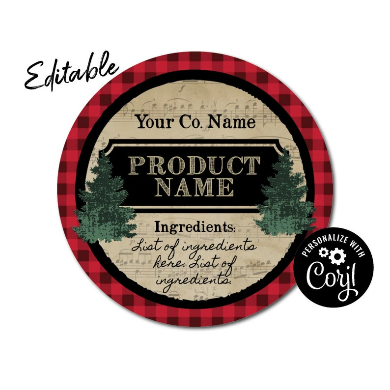Round Christmas Music Label Design  Custom Packaging for Jars Bags Candles  Soap Favors  Edit, Personalize w/ Corjl Online  Download & Print
