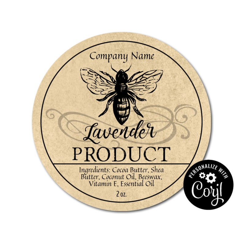 Apothecary Bee Round Label Design  Customizable Packaging Edit Personalize  w/ Corjl online  Download & Print  Jars Candles Soap Favors Gifts