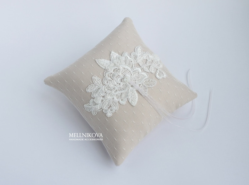 Blue Lace Ring Bearer Ivory Lace Ring Pillow for Wedding Ceremony Beige Ring Pillow
