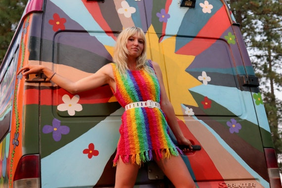 1960s Psychedelic Rainbow Mini Dress or Tunic