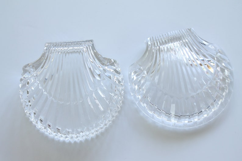 Vintage Waterford Crystal Clam Shell Trinket Dish with Lid Wedding Ring Box Jewelry Box