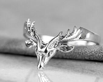 sterling silver cute animal jewelry nature lover gift Silver deer ring adjustable wrap head deer ring