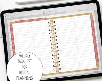 Weekly Task List for Digital Planning