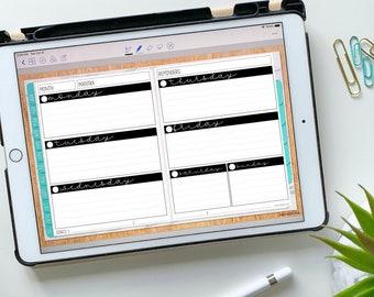 Horizontal Weekly Insert for Digital Planning - Undated Blank