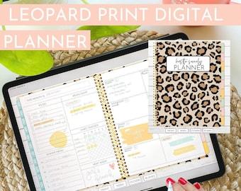 Leopard Print Undated Landscape Digital Planner | Hustle Sanely®
