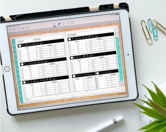 Horizontal Weekly Insert for Digital Planning - Undated with Daily To-Do/Schedule