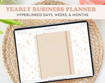 Digital Business Planner | Hustle Sanely® | Undated, Landscape with Hyperlinked Days, Weeks, Months