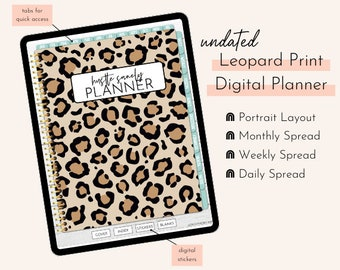 Leopard Print Undated Portrait Digital Planner | Hustle Sanely®