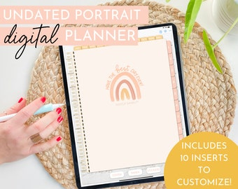 Boho Rainbow Customizable Digital Planner | Undated Portrait | Hustle Sanely®