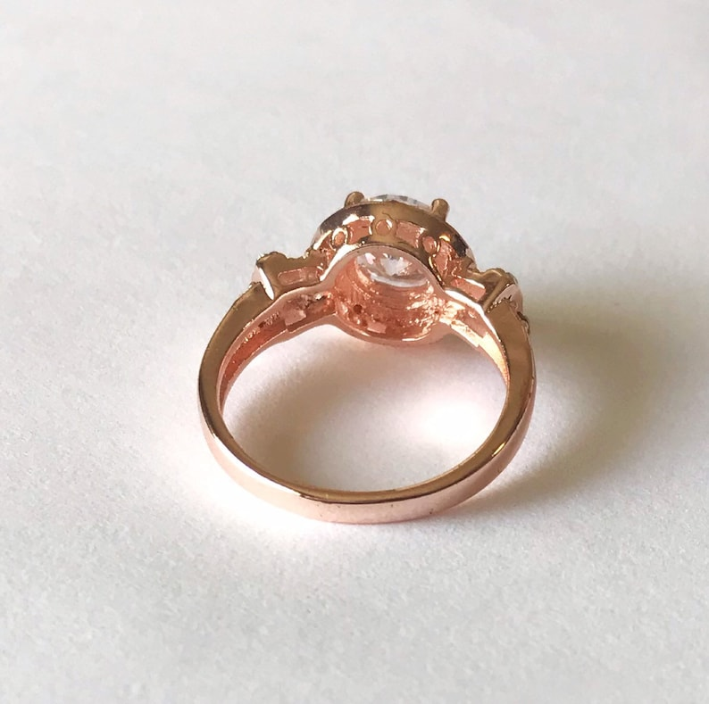 1.25ct round cut halo 14k rose gold plated engagement ring promise ring cubic zirconium engagement ring Asteria